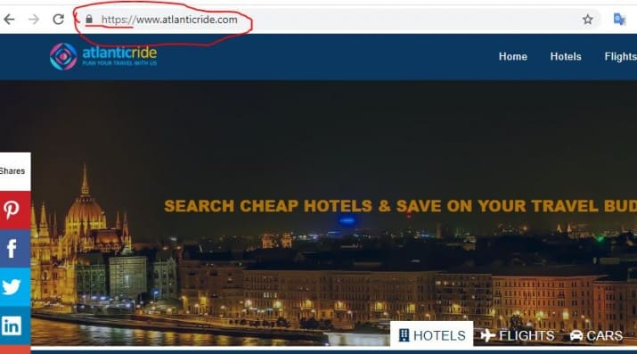 Check that the URL is correct and secured with https when search for hotels online